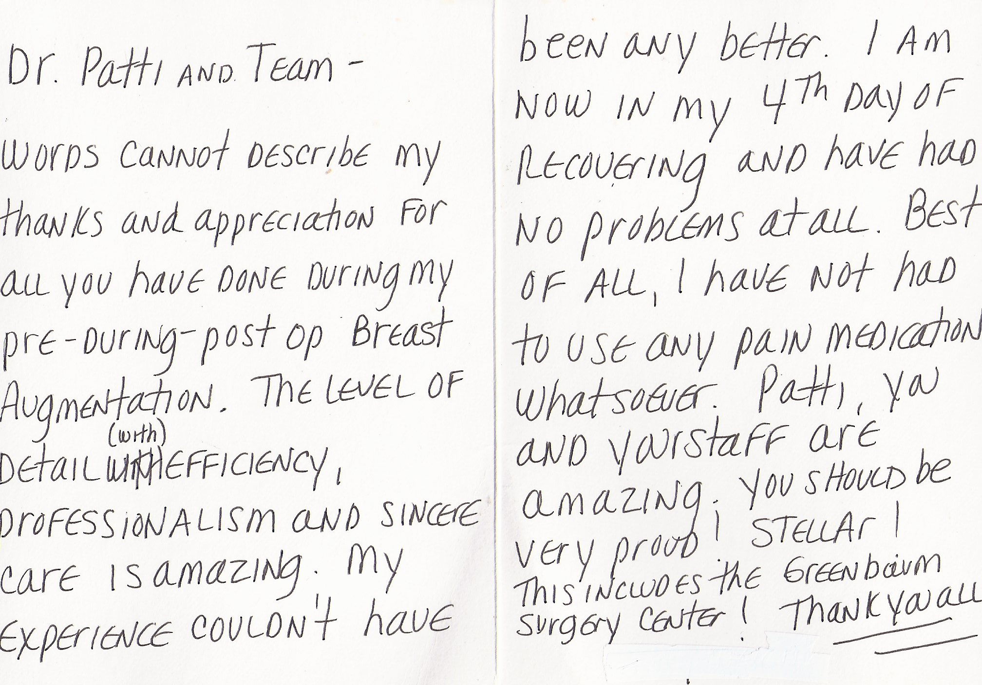 Testimonials scottsdale plastic surgeon dr patti flint dear dr flint i am writing this letter to you to thank expocarfo Choice Image
